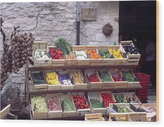 French Vegetable Stand Wood Print