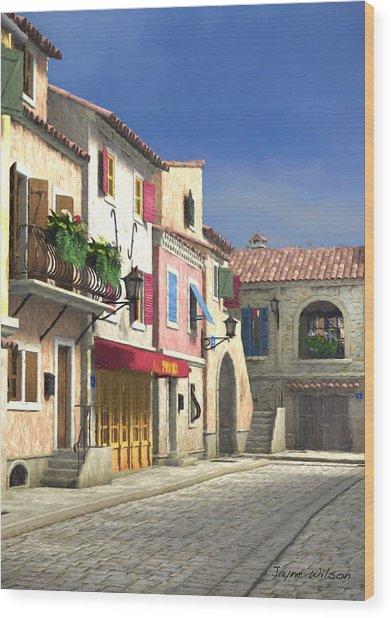 French Village Scene With Cobblestone Street Wood Print