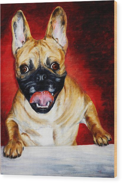 Frenchie With A Smile Wood Print by Karen Peterson