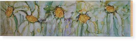 Wood Print featuring the painting Fresh As A Daisy by Ruth Kamenev