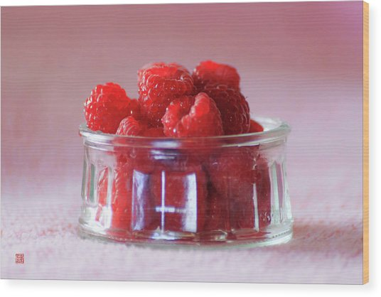 Fresh Raspberries Wood Print