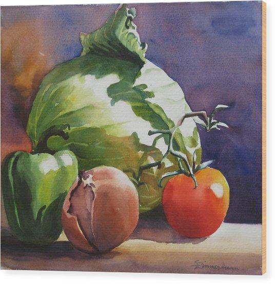 Fresh Vegetables Wood Print by Sue Zimmermann