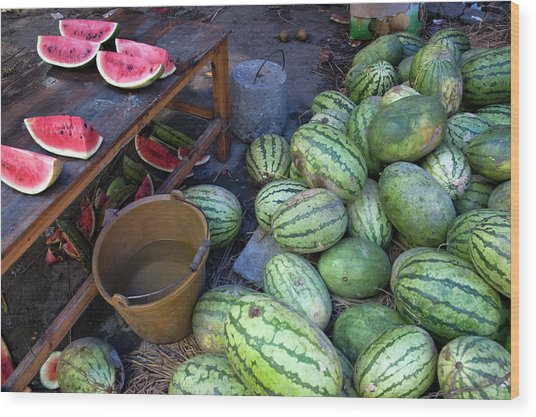 Fresh Watermelons For Sale Wood Print by Sami Sarkis