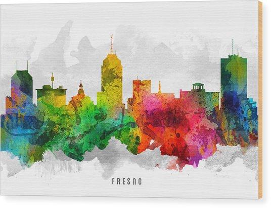 Fresno California Cityscape 12 Wood Print