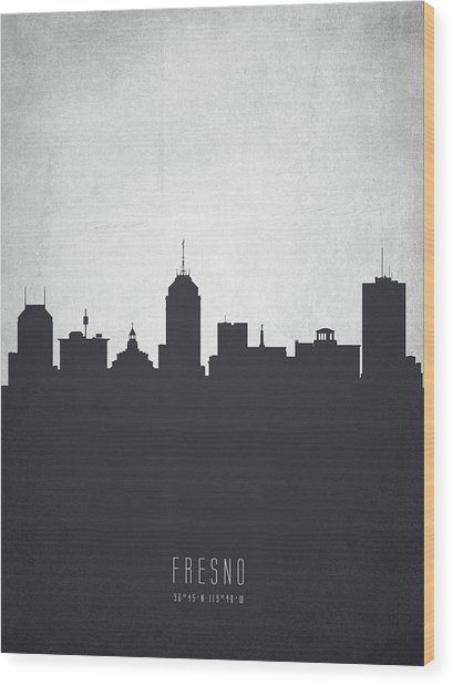 Fresno California Cityscape 19 Wood Print