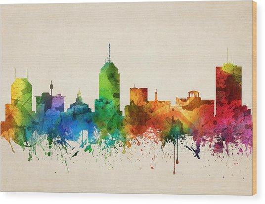 Fresno California Skyline 05 Wood Print