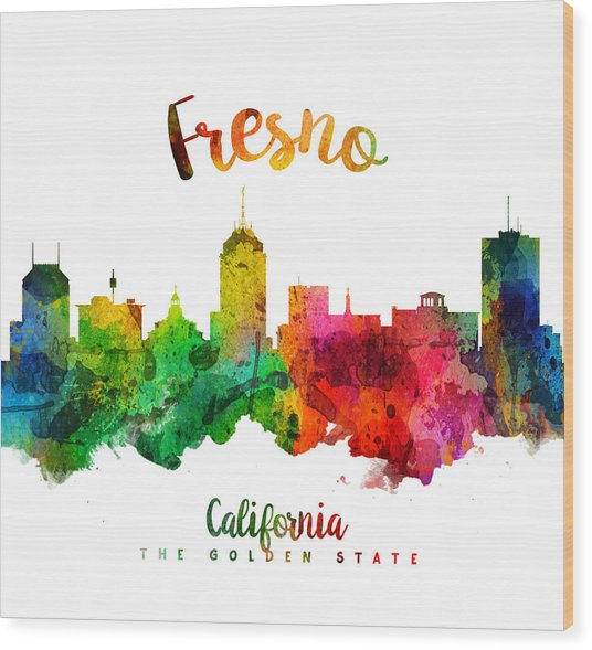 Fresno California Skyline 24 Wood Print