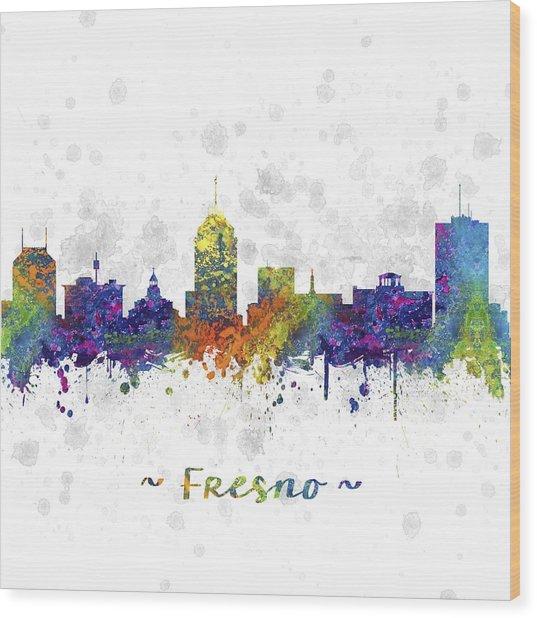 Fresno California Skyline Color 03sq Wood Print