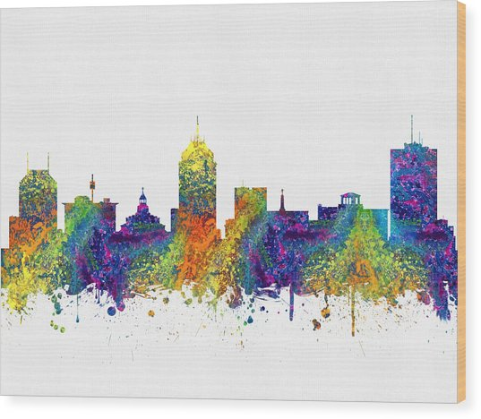 Fresno California Skyline Color03 Wood Print