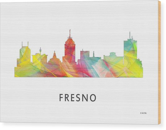 Fresno California Skyline Wood Print