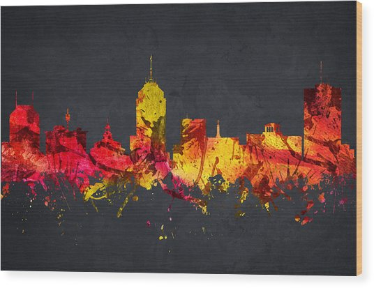 Fresno Cityscape 07 Wood Print