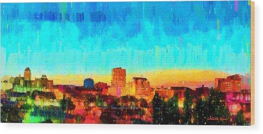 Fresno Skyline 100 - Da Wood Print