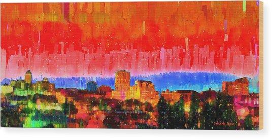 Fresno Skyline 101 - Pa Wood Print