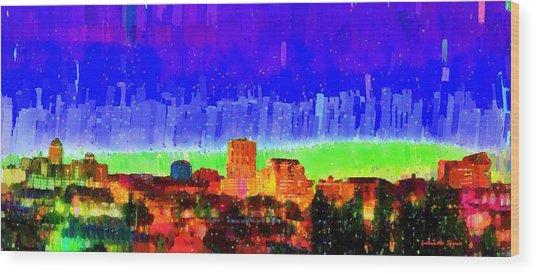 Fresno Skyline 102 - Da Wood Print