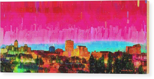 Fresno Skyline 104 - Da Wood Print