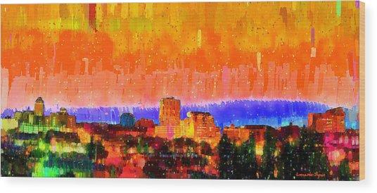 Fresno Skyline 105 - Da Wood Print