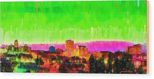 Fresno Skyline 107 - Da Wood Print