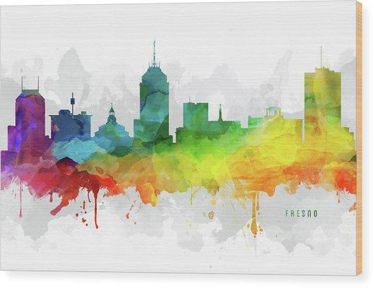 Fresno Skyline Mmr-uscafr05 Wood Print