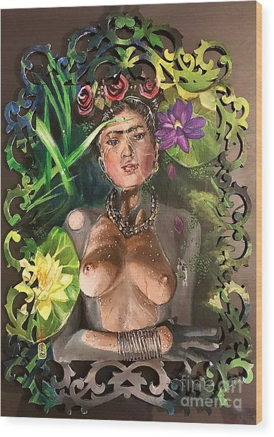 Wood Print featuring the painting Frida De Ophelia by Baroquen Krafts