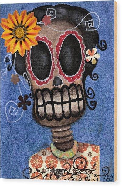 Frida Muerta Wood Print