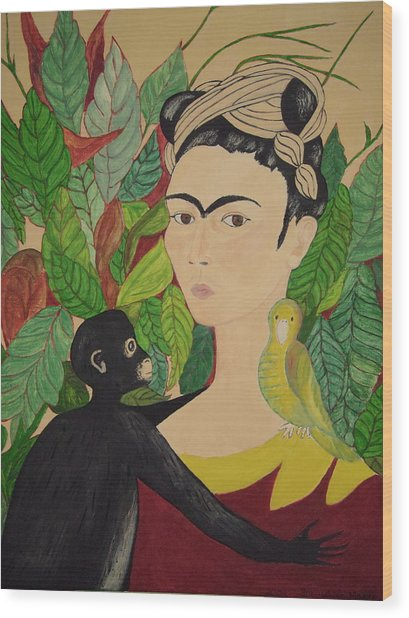 Frida With Monkey And Bird Wood Print
