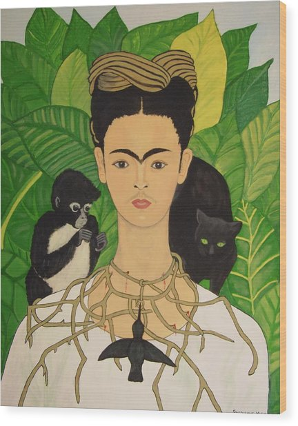 Frida With Monkey And Cat Wood Print