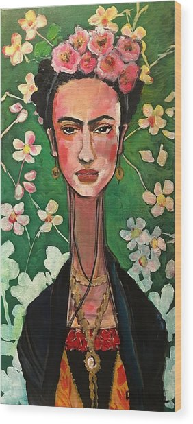 Wood Print featuring the painting Frida You Are My Vogue by Laurie Maves ART