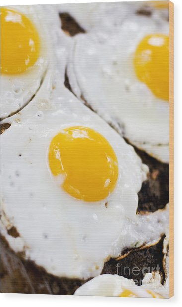 Fried Eggs Wood Print