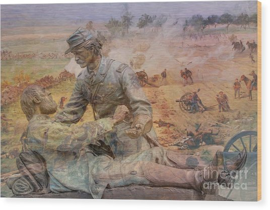 Friend To Friend Monument Gettysburg Battlefield Wood Print