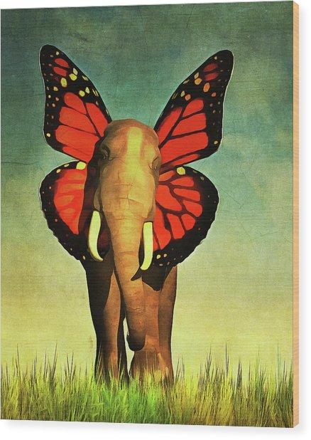 Friendly Elephant Wood Print