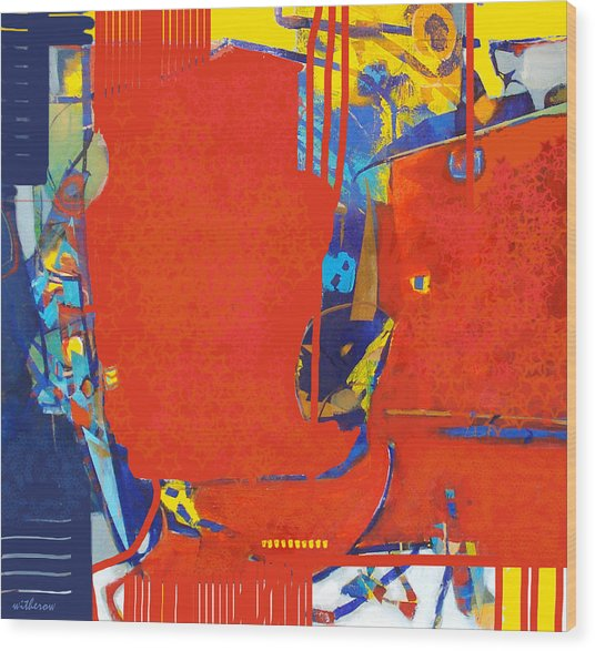 Fringe And Red Tape Wood Print by Dale  Witherow