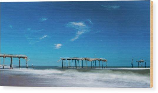 Frisco Fishing Pier In North Carolina Panorama Wood Print