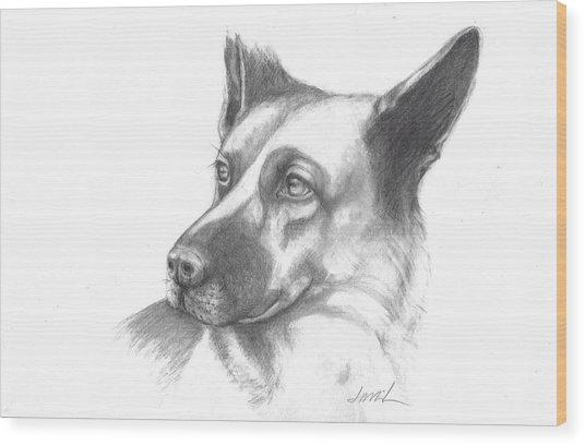 Fritz The German Shepherd Wood Print