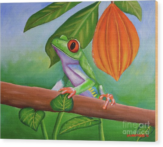 Frog And Cocoa Pod Wood Print