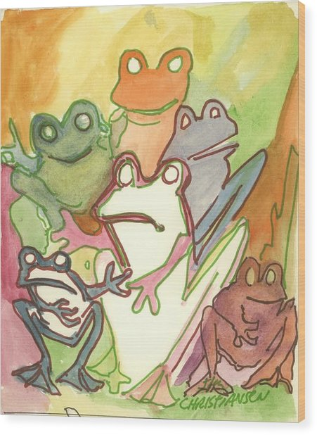 Frog Group Portrait Wood Print by James Christiansen