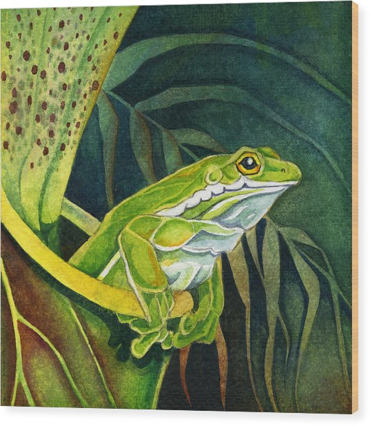Frog In Pitcher Plant Wood Print
