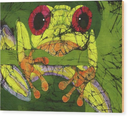 Frog On Gingko Wood Print