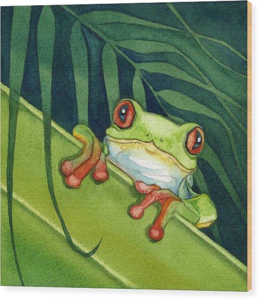 Frog Peek Wood Print