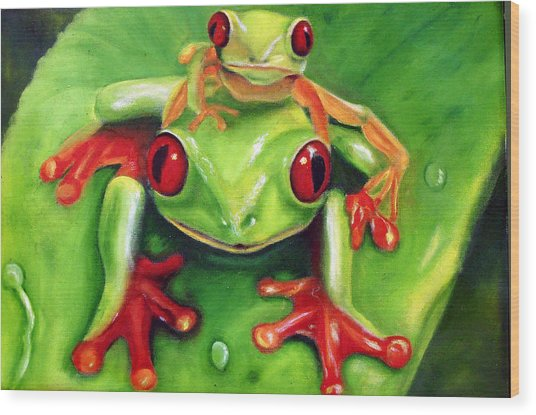 Frog Rodeo Wood Print by Darlene Green