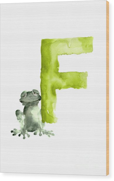 Frog Watercolor Alphabet Painting Wood Print
