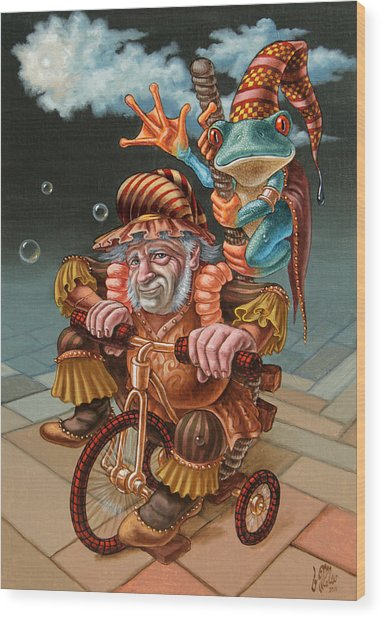Froggy Circus Wood Print
