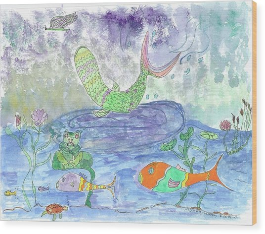 Froggy Delight And Fly Fishing Wood Print