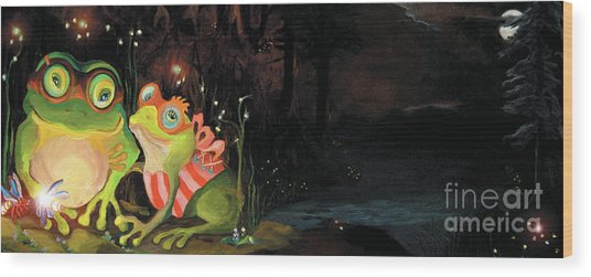 Frogs At Silver Lake Wood Print