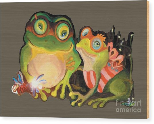 Frogs Transparent Background Wood Print