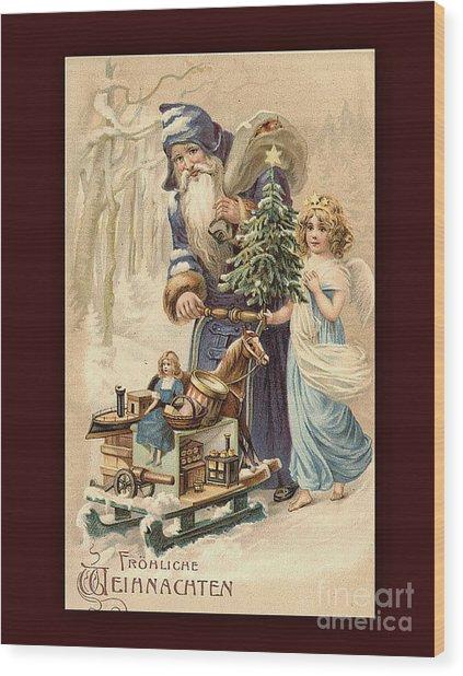Frohe Weihnachten Vintage Greeting Wood Print