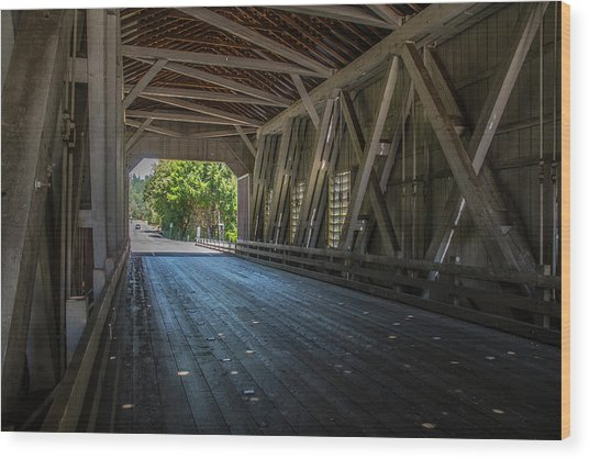 From The Inside Looking Out - Shimanek Bridge Wood Print