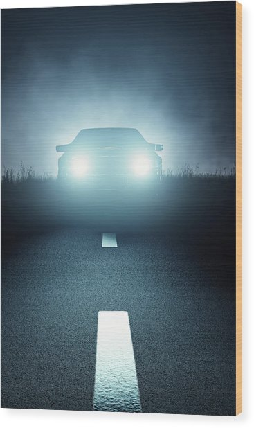 Front Car Lights At Night On Open Road Wood Print