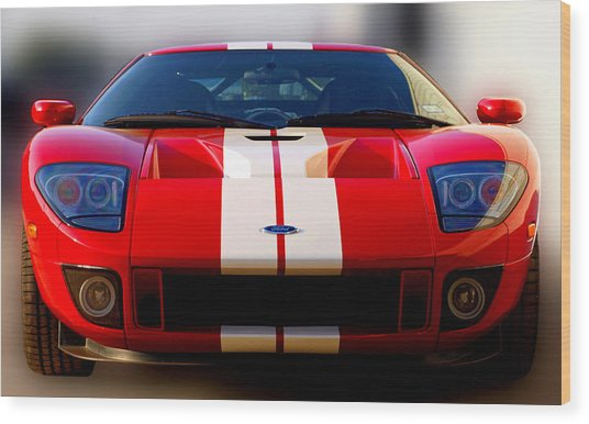 Front Ford Gt Wood Print by James Granberry