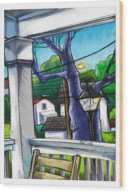 Front Porch Wood Print by Baird Hoffmire