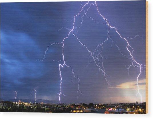 Front Range Lightning Wood Print by Dave Crowl